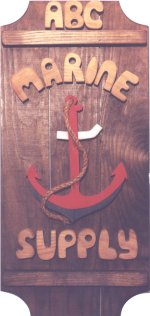 Red Anchor on a 3 board sign.