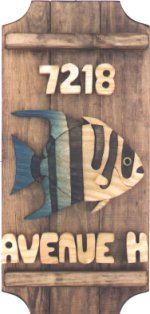Angelfish on a 3 board sign.