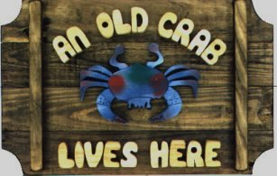 Blue Crab on a 4 board sign.
