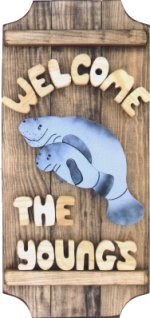 Manatee with Baby on a 3 board sign.