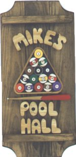 Pool on a 3 board sign.